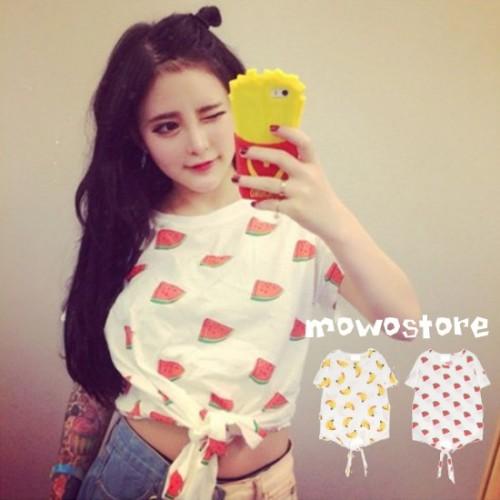 Fruitty 水果下擺綁結圓領短袖T-Shirt/Tee/T恤/上衣