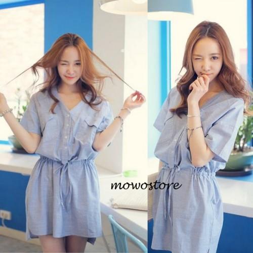純色V領半恤衫式收腰連身裙