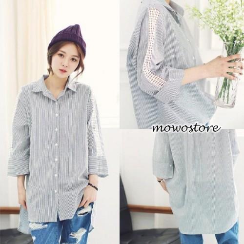 間條Lace袖恤衫